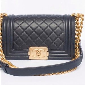Black Gray Chanel Le Boy bag, Brand new